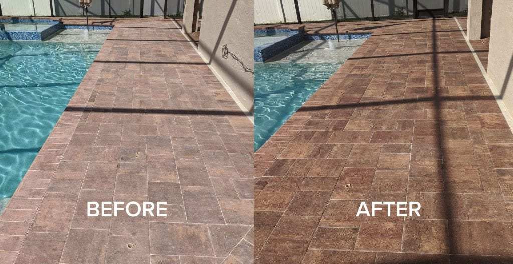 Before and After Sealed Paver Pool Deck